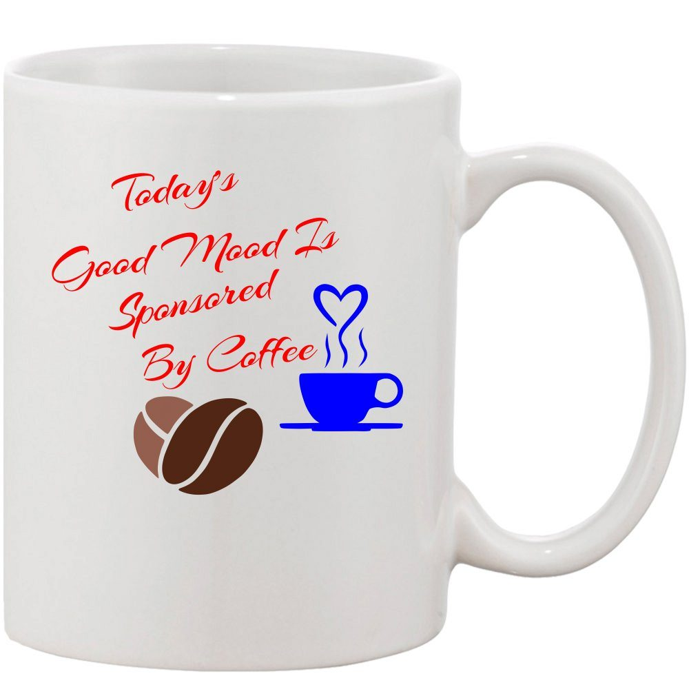 Crazy Sutra Classic Today's Good Mood Printed Ceramic Coffee/Milk Mug | Funky  Coffee/Milk Mug (White, 11 oz)