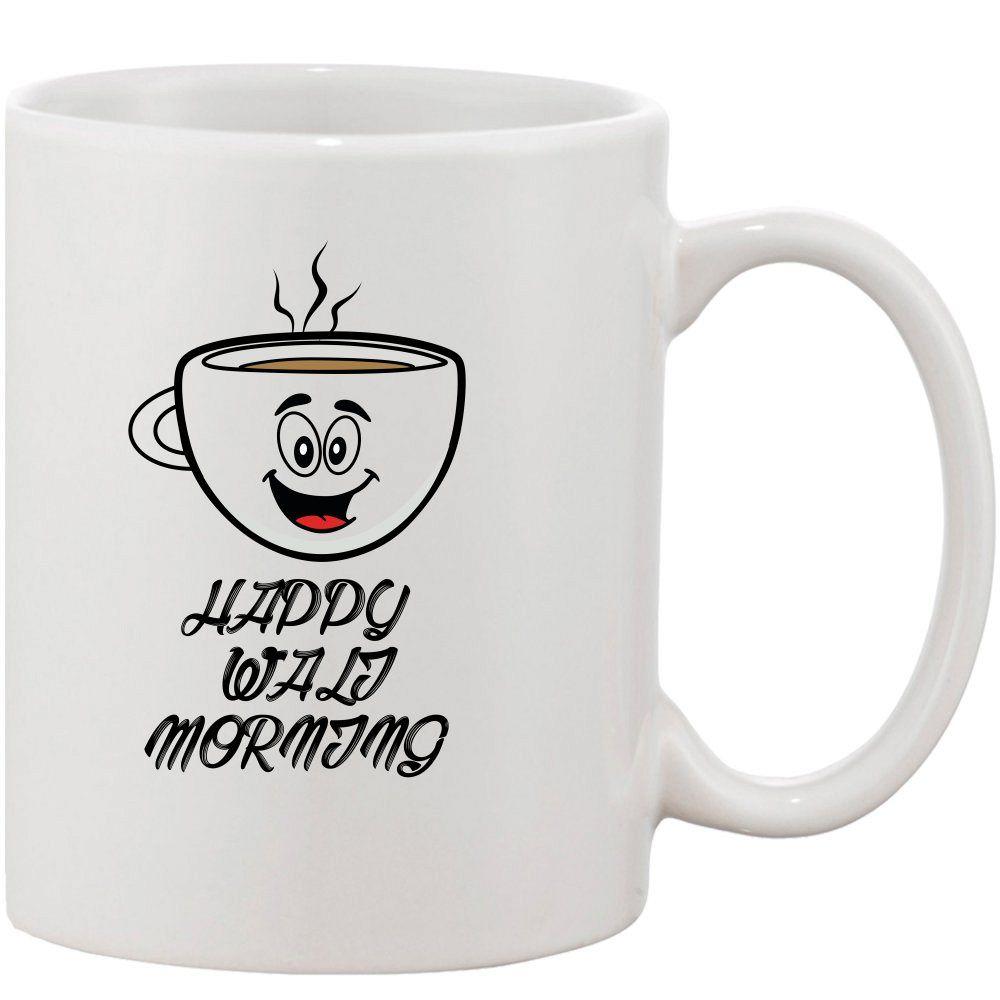 Crazy Sutra Classic HAPPY WALI MORNING Printed Ceramic Coffee/Milk Mug   Funky  Coffee/Milk Mug (White, 11 oz)
