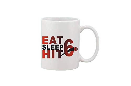 Crazy Sutra Classic Printed Ceramic Coffee/Milk Mug | Funky One Liner Coffee/Milk Mug (Mug-EatSleepHit6)