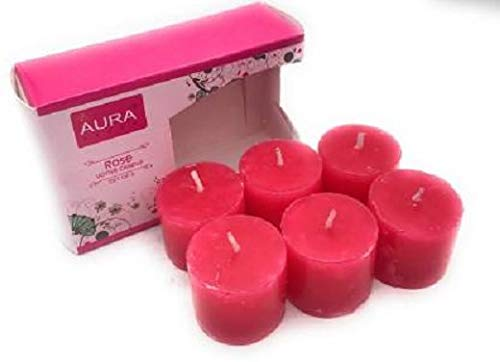 Crazy Sutra Set of 6 Rose Fragrance Votive Candles, Burning Time Approx 5 Hours Each
