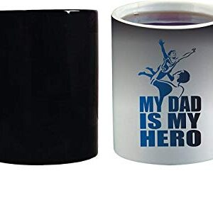 Crazy Sutra Classic Special Father's Day Printed Ceramic Funky One Liner Coffee Mug/Milk Mug, Black (MugMagic-MyDadIsMyHero)