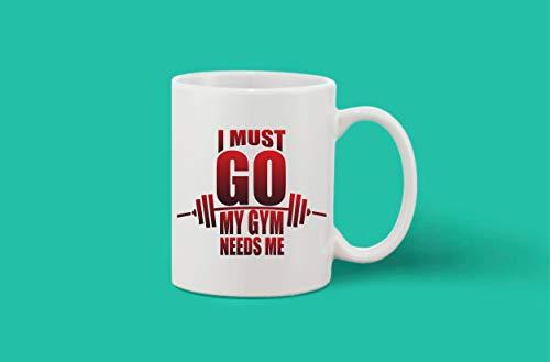 Crazy Sutra Classic Printed Ceramic Coffee/Milk Mug | Funky One Liner Coffee/Milk Mug (Mug-IMustGoGymNedM)