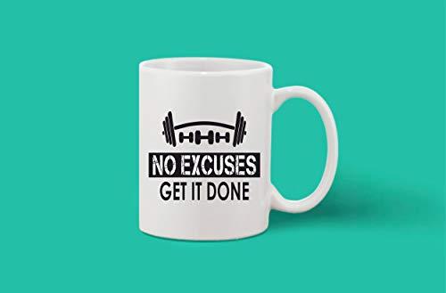Crazy Sutra Classic Printed Ceramic Coffee/Milk Mug | Funky One Liner Coffee/Milk Mug (Mug-NoExcusesGetItDone)