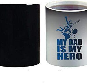 Crazy Sutra Classic Special Father's Day Printed Ceramic Funky One Liner Coffee Mug/Milk Mug, Black (MugMagic-MyDadIsMyHero_C)