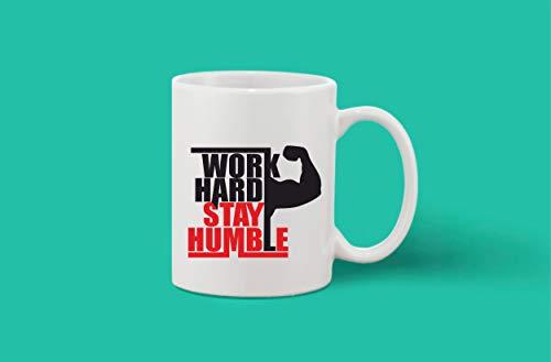 Crazy Sutra Classic Printed Ceramic Coffee/Milk Mug | Funky One Liner Coffee/Milk Mug (Mug-WorkHrdStayHmble)