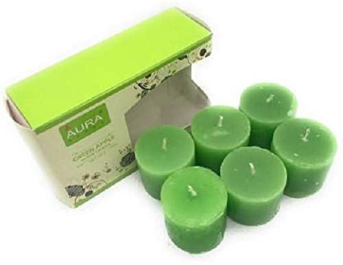 Crazy Sutra Set of 6 Green Apple Fragrance Votive Candles, Burning Time Approx 5 Hours Each