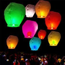 Hot Air Balloon Flying Sky Lantern with Fuel Wax Block Candle (Multicolour, Pack of 25)