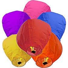 Hot Air Balloon Paper Sky Lanterns (Multicolour, Standard)-Pack Of 3