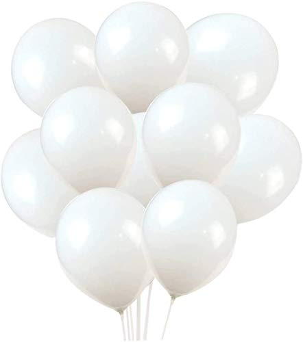 Crazy Sutra 12 inch HD Metallic Finish Balloons for Birthday / Anniversary Party Decoration (White, 100)