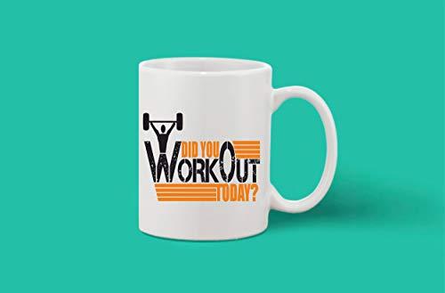 Crazy Sutra Classic Printed Ceramic Coffee/Milk Mug | Funky One Liner Coffee/Milk Mug (Mug-DidUWorkOutToday1)