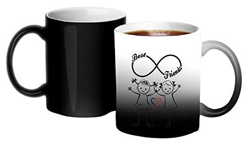 Crazy Sutra Classic Printed Ceramic Magic Mug - Coffee Mug/Milk Mug, Black (Mug-MagicBestFriends3)