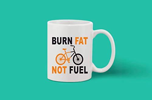 Crazy Sutra Classic Printed Ceramic Coffee/Milk Mug | Funky One Liner Coffee/Milk Mug (Mug-BurnFatNotFuel)