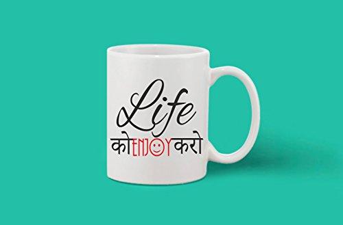 Crazy Sutra Classic Printed LifeKo Enjoy Karo Ceramic Coffee/Milk Mug | Funky One Liner Coffee/Milk Mug (Mug-LifeKoEnjoyKaro_C)