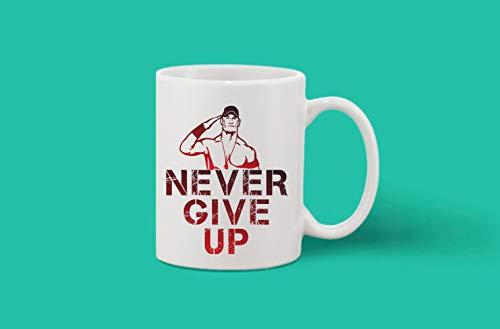 Crazy Sutra Classic Printed Ceramic Coffee/Milk Mug | Funky One Liner Coffee/Milk Mug (Mug-NeverGiveUp_1)
