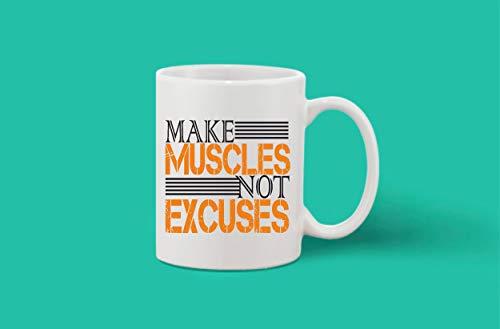 Crazy Sutra Classic Printed Ceramic Coffee/Milk Mug | Funky One Liner Coffee/Milk Mug (Mug-MakeMusclesNExcuses)