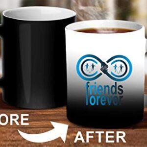 Crazy Sutra Classic Printed Ceramic Magic Mug - Coffee Mug/Milk Mug, Black (Mug-MagicFriends4Forever3)