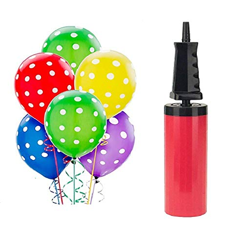 Crazy Sutra Printed Polka Dot Birthday Balloons for Decoration with Pump (Multicolor, Pack of 50pc).