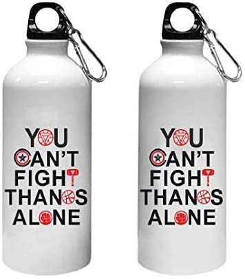 Crazy Sutra Classic Printed Quote Water Bottle/Sipper - 600Ml (YouCan'tFightAlone_W)