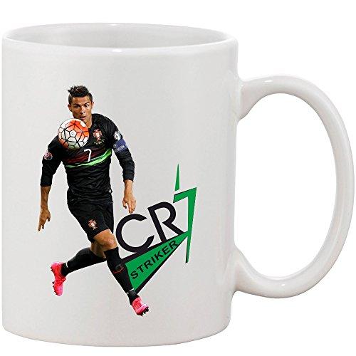 Crazy Sutra Classic Special Football Printed CR7Strikers Ceramic Funky One Liner Coffee Mug/Milk Mug, Black (MugMagic-CR7Stickers_C)
