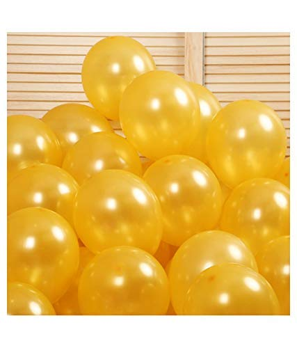 Crazy Sutra 12 inch HD Metallic Finish Balloons for Birthday / Anniversary Party Decoration (Golden, 100)