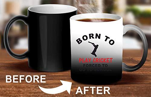 Crazy Sutra Classic Printed Ceramic Magic Mug - Coffee Mug/Milk Mug, Black (Mug-MagicBornToPlayCricket3)