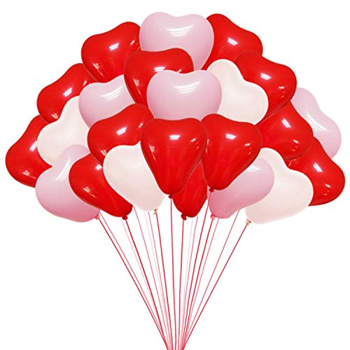 Crazy Sutra Party Heart Shaped Balloon Red & White (Pack of 100pc).
