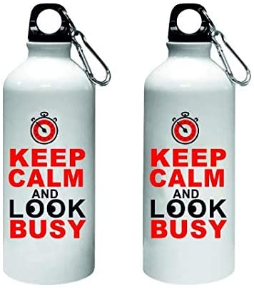 Crazy Sutra Classic Printed Quote Water Bottle/Sipper - 600Ml (KeepCalmAndLookBusy)