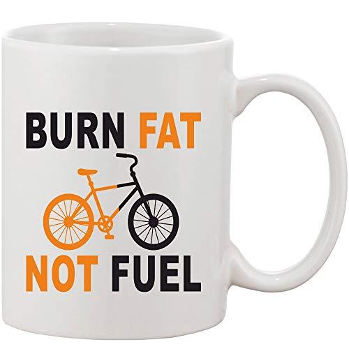 Crazy Sutra Classic Printed Ceramic Coffee/Milk Mug   Funky One Liner Coffee/Milk Mug (Mug-BurnFatNotFuel)