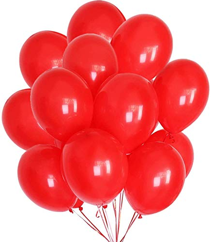 Crazy Sutra 12 inch HD Metallic Finish Balloons for Birthday / Anniversary Party Decoration (Red, 100)