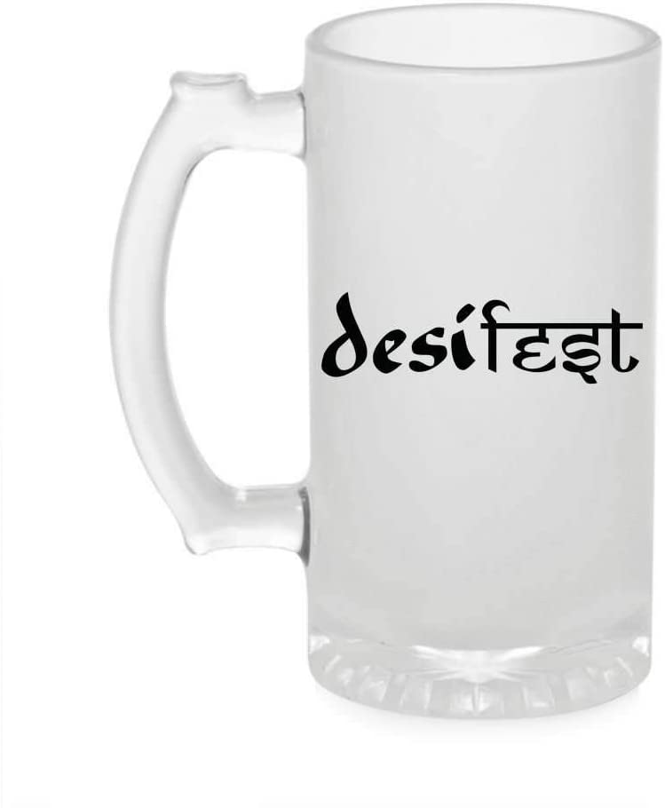 Crazy Sutra Funny and Cool Quote Desi Ghi Printed Clear Frosted Glass Beer Mug for Friends/Brother/Boyfriend (500ml)