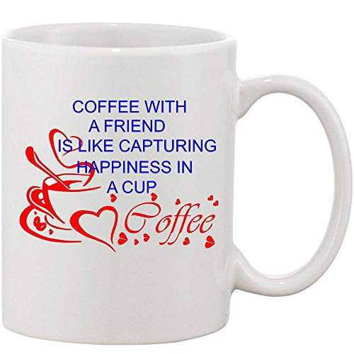 Crazy Sutra Classic Coffee with A Friend Printed Ceramic Coffee/Milk Mug   Funky Coffee/Milk Mug (White, 11 oz)