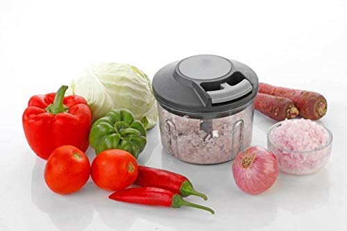 Crazy Sutra Handy Plastic Manual Chopper with Pull Cord Technology and 3 Stainless Steel Blades Eco Friendly Design Compact & Powerful Onion Vegetable Cutter Tools with 3 Blades