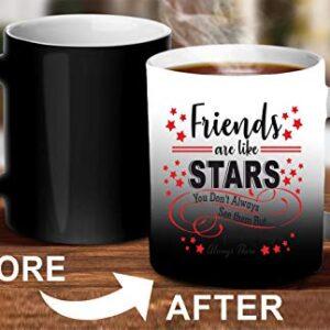 Crazy Sutra Classic Printed Ceramic Magic Mug - Coffee Mug/Milk Mug, Black (Mug-MagicFriendsAreLikeStar5)