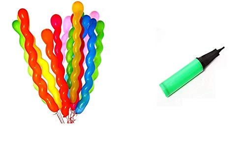 Crazy Sutra Spiral Screw Shaped Latex Balloons Large Balloon Toy Balloons Pack of 50 Pieces with Balloon Pump