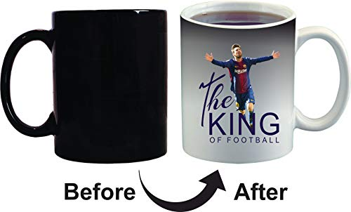 Crazy Sutra Classic Special Football Printed The King of Football Ceramic Funky One Liner Coffee Mug/Milk Mug, Black (MugMagic-TheKingOfFootBall_C)
