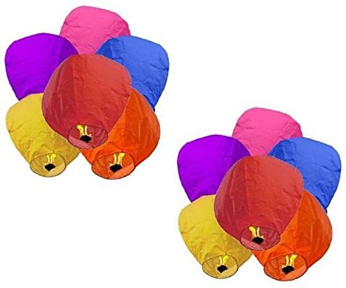 Hot Air Balloon paper Sky Lantern , Standard, Mix Colour - Pack of 5