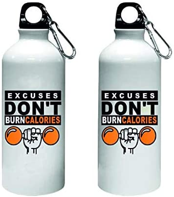 Crazy Sutra Classic Printed Quote Water Bottle/Sipper - 600Ml (ExcusesDon'tBurnCalories_W)