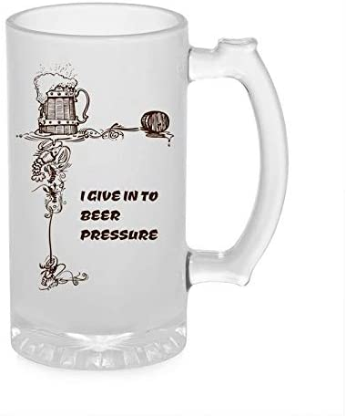 Crazy Sutra Funny and Cool Quote IGivenInToBeer Printed Clear Frosted Glass Beer Mug for Friends/Brother/Boyfriend (500ml)