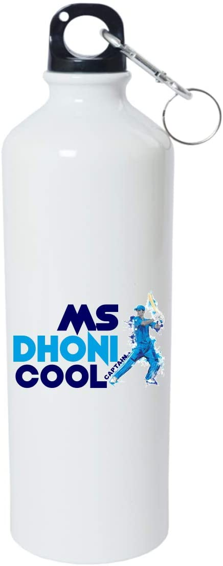 Crazy Sutra Classic Printed Cricket Special Water Bottle/Sipper White - 600Ml (Sipper-MsDhoniCaptainCool_W)