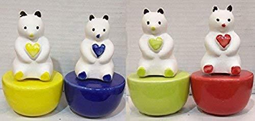 Crazy Sutra Ceramic Teddy Bear Aroma Reed Fragrance Oil Diffuser/Vaporizer for Room, Bathroom, Car Fragrance, Toilet Diffuser - 1pc. (Random Color) with 60ml Reed Fragrance Oil (Romance Fragrance)