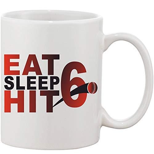 Crazy Sutra Classic Printed Ceramic Coffee/Milk Mug   Funky One Liner Coffee/Milk Mug (Mug-EatSleepHit6)