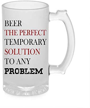 Crazy Sutra Funny and Cool Quote BeeThePerfect Printed Clear Frosted Glass Beer Mug for Friends/Brother/Boyfriend (500ml)