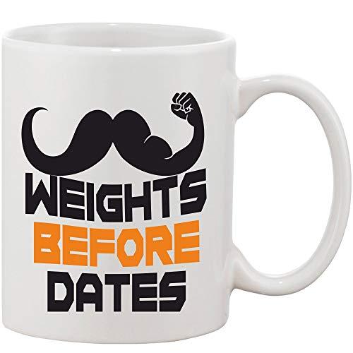 Crazy Sutra Classic Printed Ceramic Coffee/Milk Mug | Funky One Liner Coffee/Milk Mug (Mug-WeightsBfrDates)