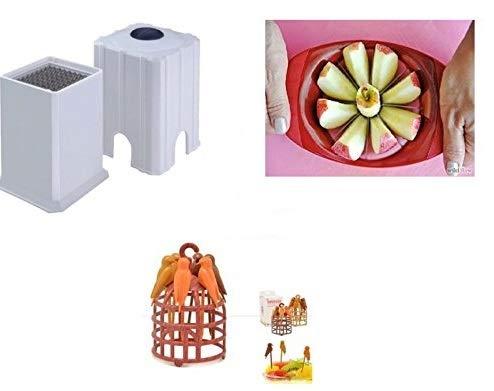 Crazy Sutra Super Saver Kitchen Combo - Potato Finger Chips Cutter, Apple Cutter, Bird Fruit Fork Birds Fork Cutlery - Multi Colour