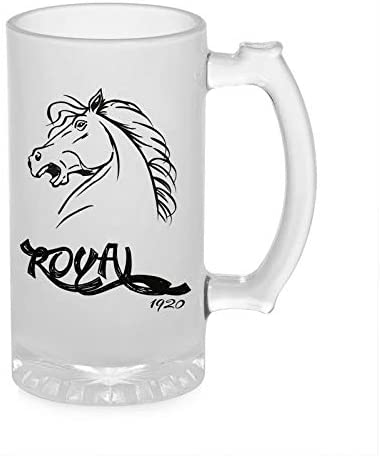 Crazy Sutra Funny and Cool Quote Royal1920 Printed Clear Frosted Glass Beer Mug for Friends/Brother/Boyfriend (500ml)