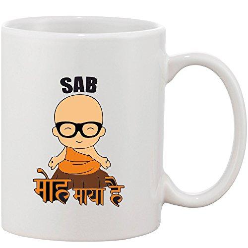 Crazy Sutra Classic Printed Special Sab MOH Maya Hai Ceramic Coffee/Milk Mug | Funky One Liner Coffee/Milk Mug (Mug-SabMohMayaHai3_C)