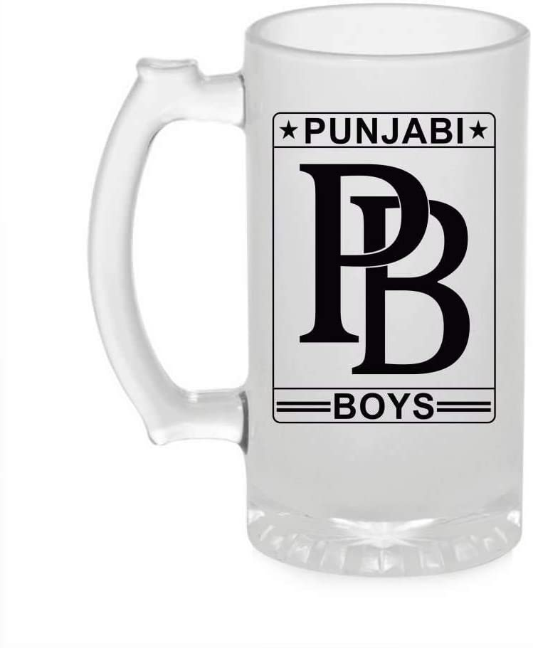 Crazy Sutra Funny and Cool Quote Punjabi Printed Clear Frosted Glass Beer Mug for Friends/Brother/Boyfriend (500ml)