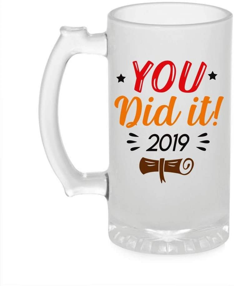 Crazy Sutra Funny and Cool Quote You Did It Printed Clear Frosted Glass Beer Mug for Friends/Brother/Boyfriend (500ml)