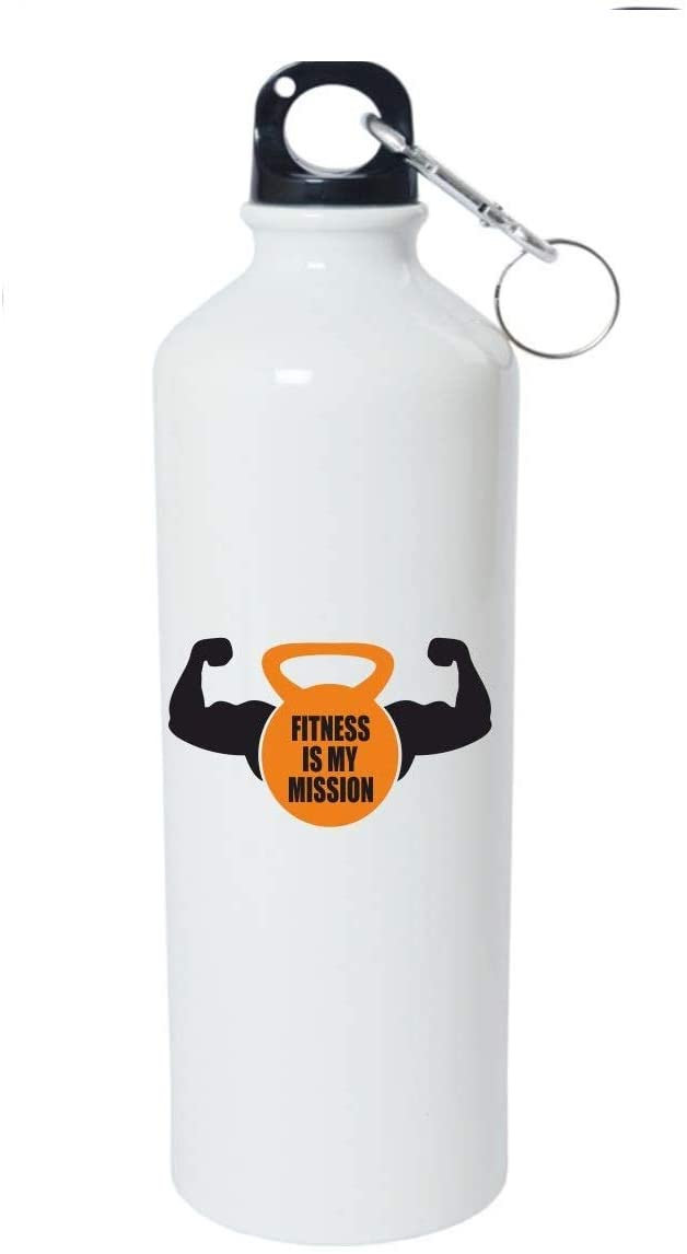 Crazy Sutra Classic Printed Gym Special Water Bottle/Sipper White - 600Ml (Sipper-FitnessIsMyMission1)