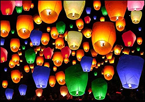 Hot Air Balloon Paper Sky Lanterns (Mix Colour) -Pack of 10